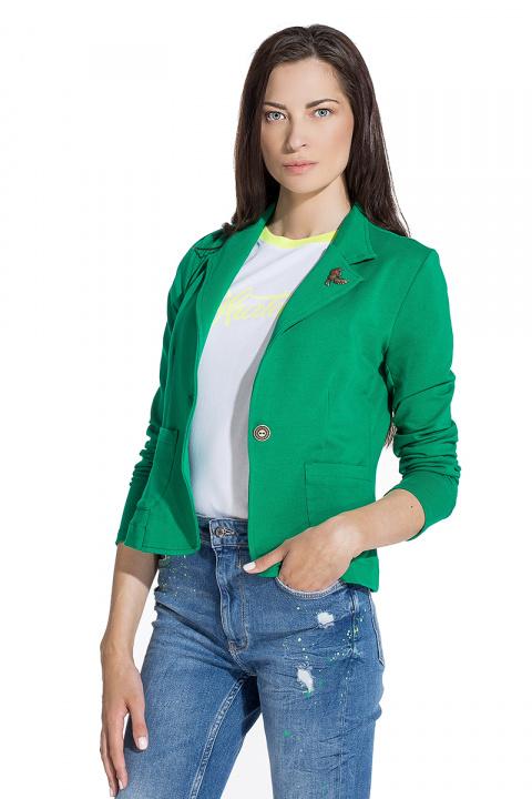 6fc494383f9 Дамско сако от трико в наситено зелено